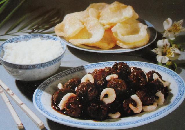 Шарики из свинины с креветками