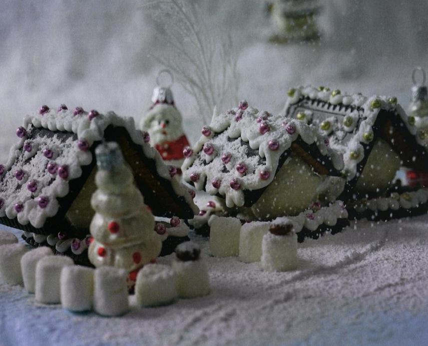 Заснеженные домики из печенья