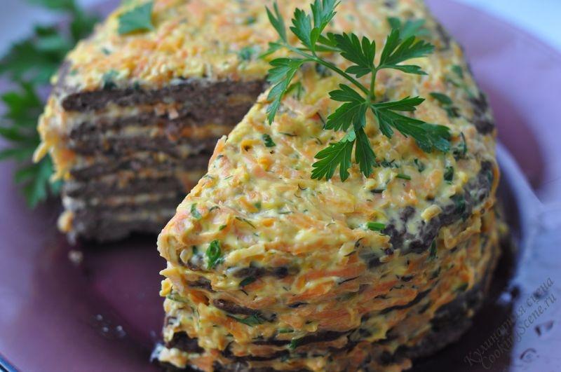 Печеночный торт с грибами и морковью рецепт с пошагово 180